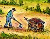 Ein Mann mit einer Hacke und einem Leiterwagen