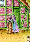 Eine Frau bedient ein Butterfass