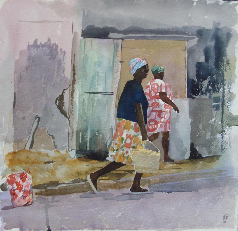 EBERHARD SCHLOTTER Auf der Straße, 1976, Aquarell