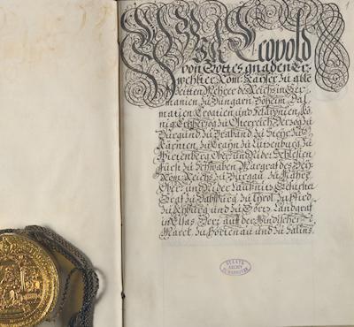 Urkunde mit Goldbulle: Kaiser Leopold verleiht Herzog Ernst August die Kurwürde, Wien, 19. Dezember 1692