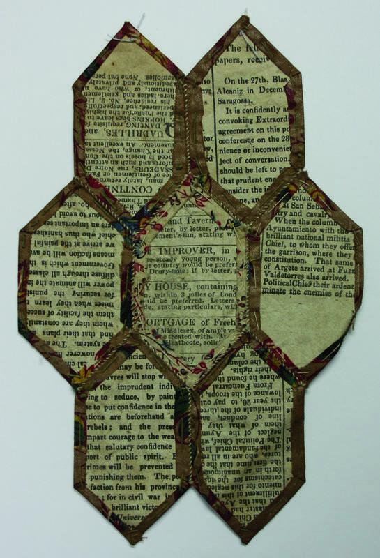 Teil einer Flickendecke / Patchworkdecke aus dem 18./19. Jahrhundert Rückseite
