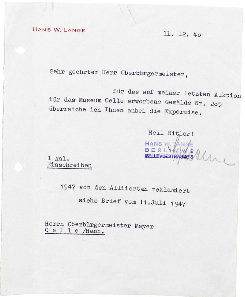 Schreiben Lange 1940