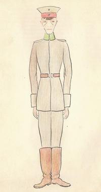 Karikatur eines strammstehenden deutschen Offiziers