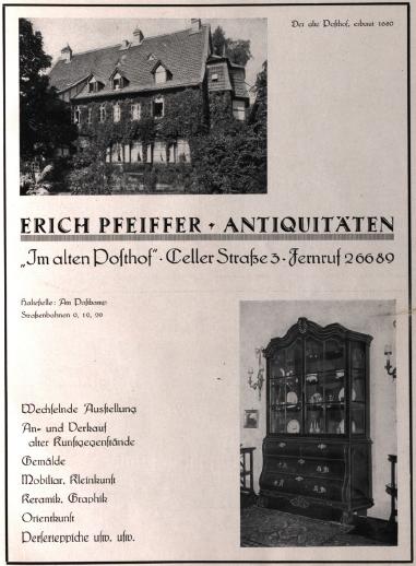 Werbeanzeige des Händlers Erich Pfeiffer
